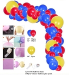 Blue red yellow balloon garland